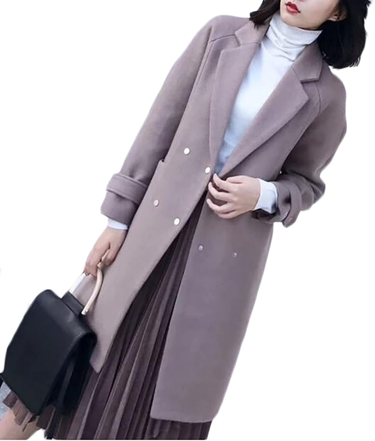 ARRIVE GUIDE Womens Casual Button Front Loose Trenchcoat Wool Blend Peacoat