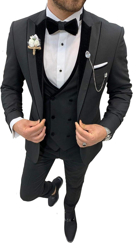Men's Slim Fit 3 Piece Suit Blazer Peaked Lapel Tuxedo Wedding Party Jackets Vest&Trousers