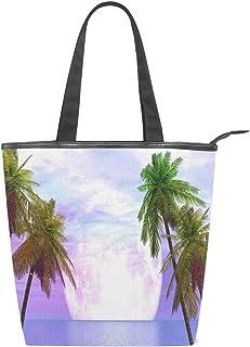 Mnsruu Große Handtasche aus Segeltuch Strandtasche, Reisetasche, Einkaufstasche, Schultertasche, lila, Sonnenuntergang, Palme, Sommerurlaub, Reißverschluss Handtasche für Damen und Mädchen