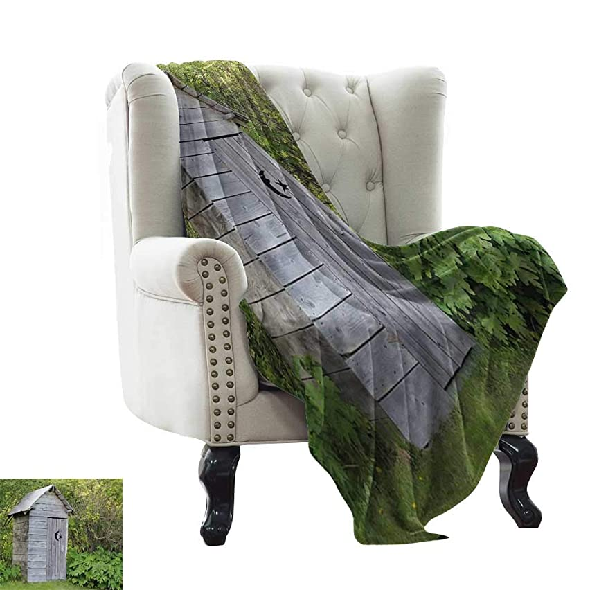 Soft Blanket Microfiber Outhouse,Vintage Farm Life Cottage Barn Shed in Forest Trees Leaves Picture,Pale Grey and Fern Green Soft Summer Cooling Lightweight Bed Blanket 70