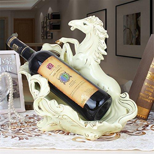 LL-COEUR Porte-Bouteille Décoration Casier à Vin Original Support pour Bouteille Sculpture Céramique (Blanc Cheval - 30x18x28cm)