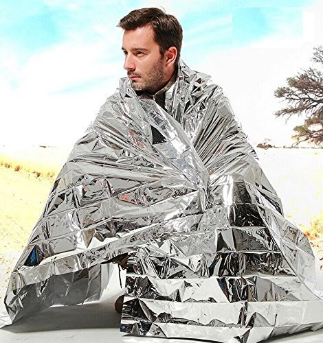 Tykusm extérieur de survie d'urgence aluminisé Sac de couchage Isolation de camping Couverture (Silver)