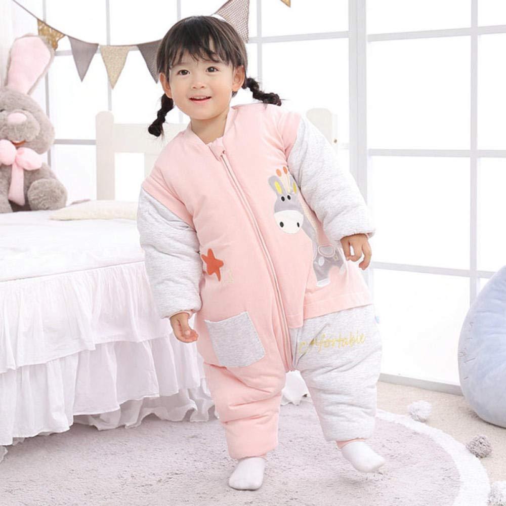 nohbi Saco de Dormir Bebe en Algodón Natural,Aumentar el Pijama de una Pieza de algodón Engrosado para niños,Saco de Dormir cálido con Pierna Dividida,Rosa_110,Carrito de Bebé Manta: Amazon.es: Hogar