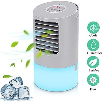 Aire Acondicionado Portátil Refrigeracion Mini Enfriador De Aire Silencioso Climatizador Evaporativo Ventilador Purificador Humidificador 7 Leds,3 Velocidades 2/4h Temporizador Para Coche Casa Oficina: Amazon.es: Bricolaje y herramientas