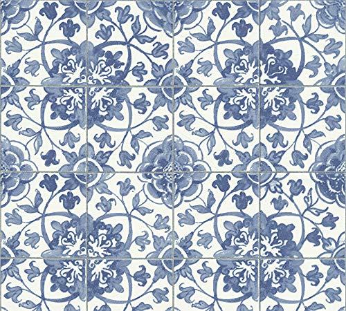 A.S. Création Tapete Faro in Fliesen Optik 10,05 m x 0,53 m blau weiß Made in Germany 962471 96247-1