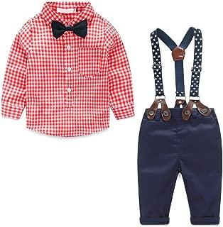 Baby Boys Gentleman Long Sleeves Plaid Bowtie Romper Suspenders Shorts Two-Piece Set