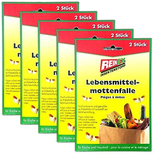 HAC24 5x2 Lebensmittelmotten Pheromonfallen Lebensmittelmottenfalle Mehlmotten Falle