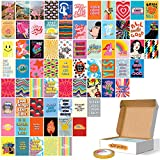 Fardes Wall Collage Kit Room Decor Aesthetic Pictures - Aesthetic Indie Posters - Colorful Indie Room Decor for Teen Girls - Hippie Teen Room Decor Aesthetic for Bedroom - Baddie and Cute Teen Girl Room Decor 70 Pcs of 4x6 Inch, With Double Side Tape