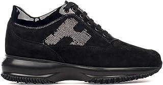 Luxury Fashion   Hogan Women HXW00N0564025Q9999 Black Suede Sneakers   Season Permanent