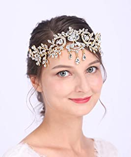 Anglacesmade Bridal Crystal Tiara Crown Rhinestone Headband with Teardrop Diamond Head Chain for Wedding Prom Party Hair Jewelry for Women and Girls