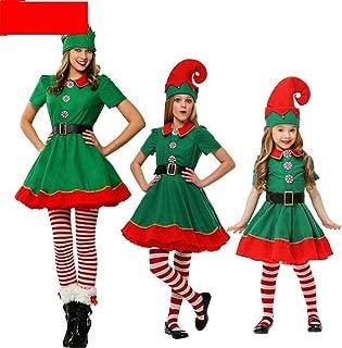 LINN Natale Donna Uomo Ragazzi Ragazze Natale Costumi di Babbo Natale Bambini Famiglia per adulti Famiglia Elfo Verde Costumi Cosplay Articoli per Feste,Female,180cm