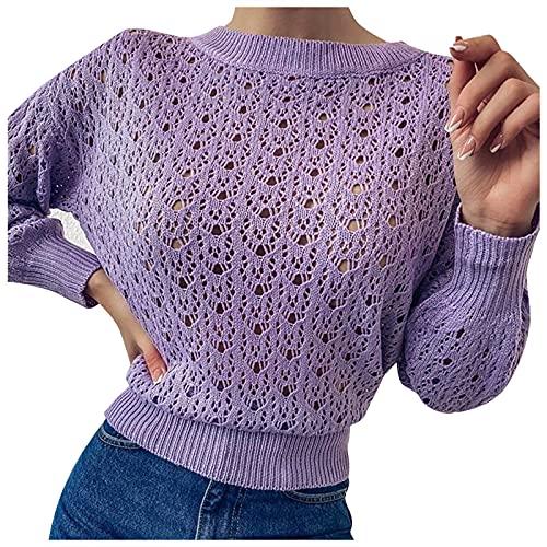 Pistaz Jersey de cuello redondo para mujer, de un solo color, hueco, de cintura alta, manga larga, ajustado, sexy, elegante, morado, 40