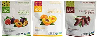 Fruit Bliss Organic Non-GMO Dried Fruit Variety Bundle: (1) Fruit Medley, (1) Turkish Apricots, and (1) Deglet Nour Dates,...