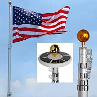 MegaBrand 25Ft / 20Ft Telescopic 16 Gauge Aluminum Flag Pole with Solar Lights (25 Ft)