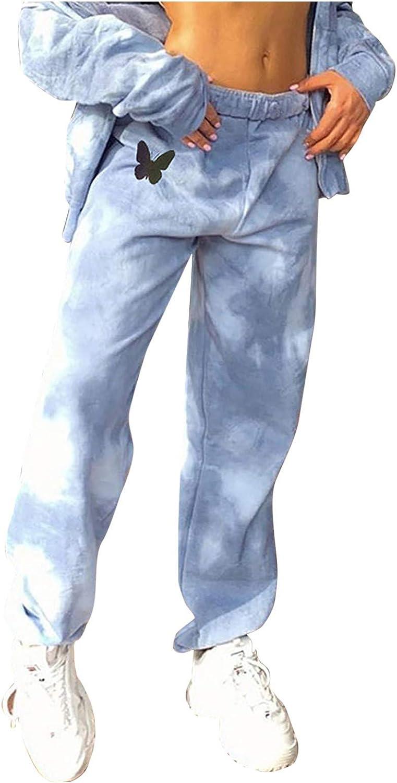 SUMSAYEI Women's Tie-Dye Butterfly Print Pants Hip Hop Casual Pants Women's Totally Tie-Dye Harem Pants
