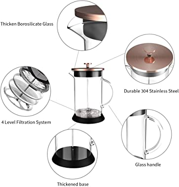 Upgraded French Press Coffee Maker Glass 34oz, French Coffee Press with Glass handle and non-slip silicone base Precise Scale