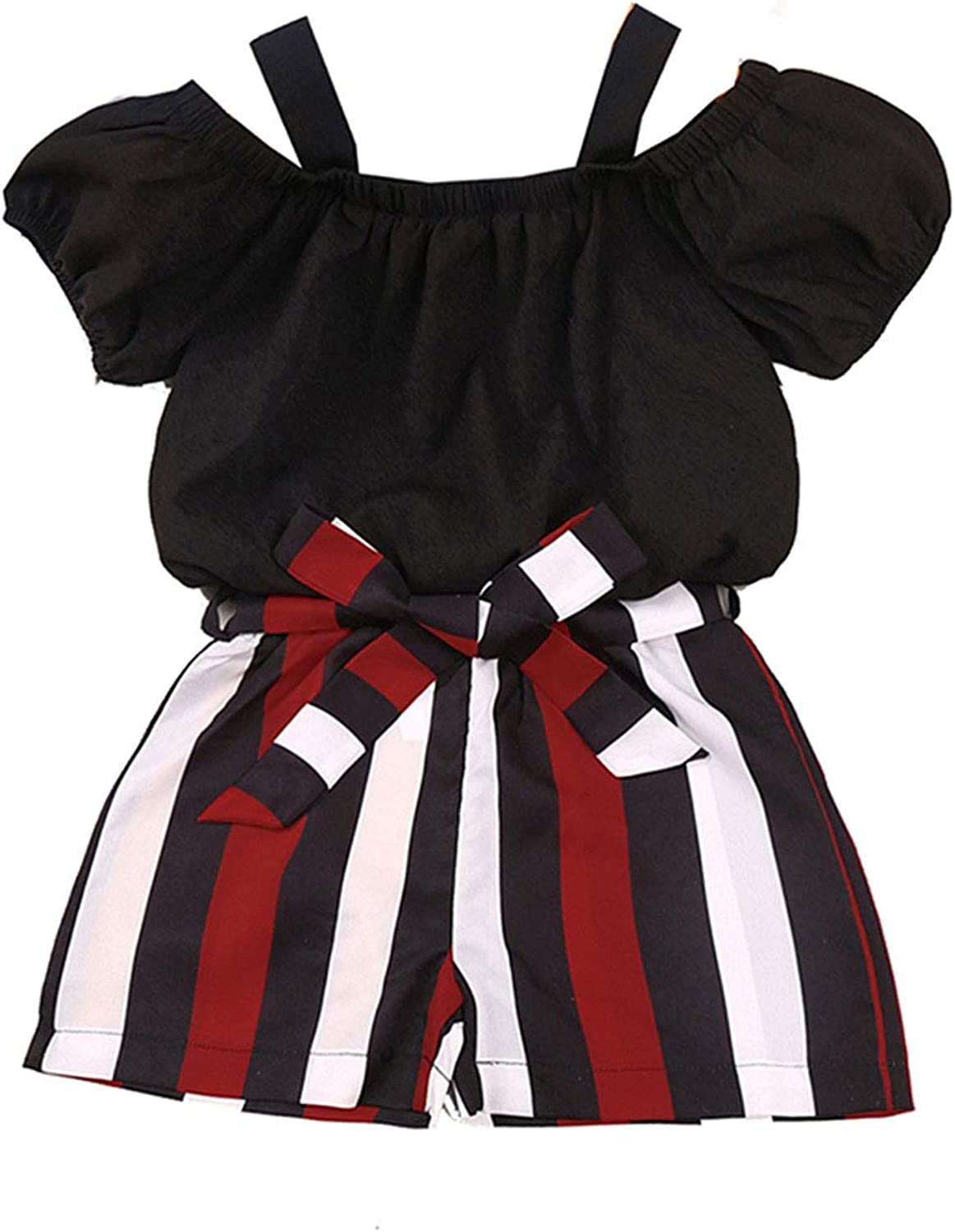 Toddler Baby Girls Summer 2 Piece Clothes Outfit Set Short Ruffle Puff Sleeve Crop Tops Stripes Shorts Sets