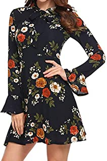 Women Flare Long Sleeve Bow O-Neck Floral Casual Party Pleated Mini Swing Dress