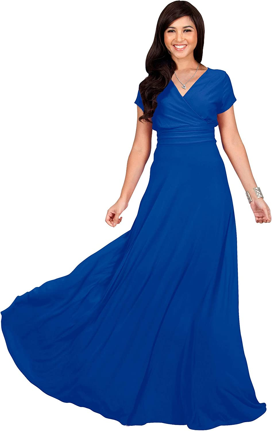 KOH KOH Womens Sexy Cap Short Sleeve VNeck Flowy Cocktail Gown