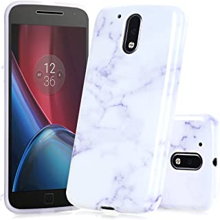 BAISRKE Moto G4 Plus Case, White Lavender Marble Creative Design Slim Flexible Soft Silicone Bumper Shockproof Gel TPU Rubber Glossy Skin Cover Case for Moto G 4th Generation/Moto G Plus