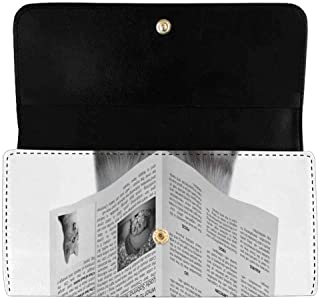Women's Trifold Long Clutch Wallets Funny Cat Newspaper PU Leather Card Holder Purses