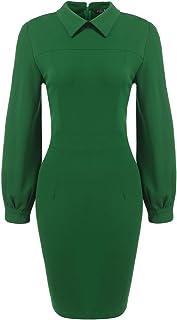 36aa87eea22665 SE MIU Women s Elegant Long Sleeve Wear to Work Slim Fit Pencil Dress