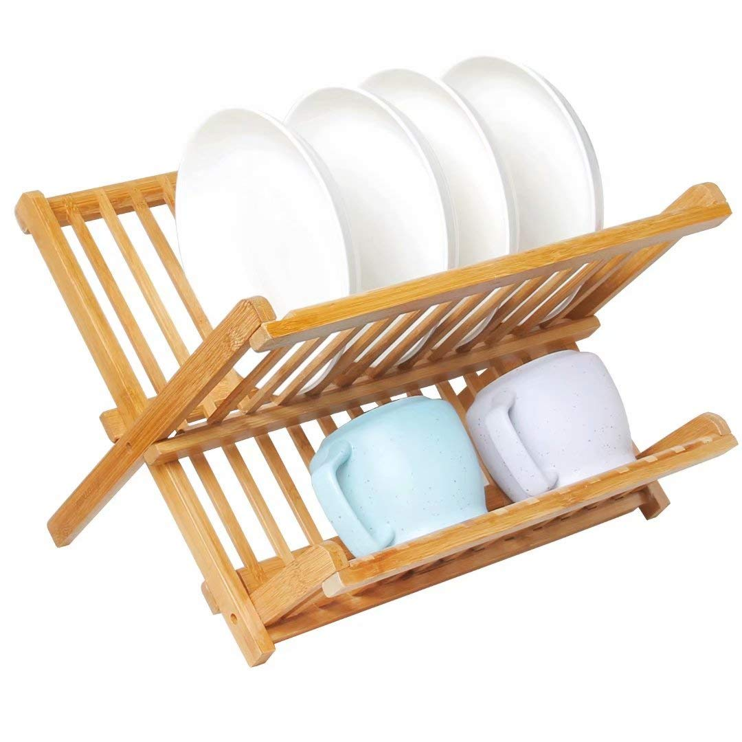 Collapsible Bamboo Drying Dish Rack 2 Tier Level Folding Dish Rack for Counter