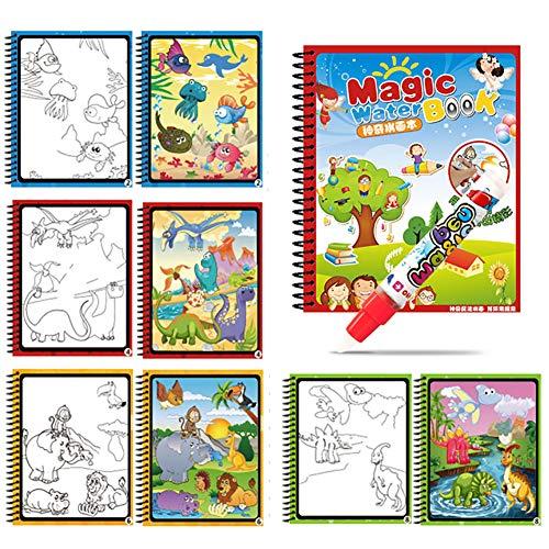 Sucfami Water Coloring Book Reusable Water-Reveal Activity, Animal Magic Aqua Drawing Painting Kit with Bonus Pen for Toddlers Kids