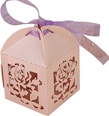 Massjoy 50/100 PCS Candy Boxes, Wedding Supplies, European-Style Three-