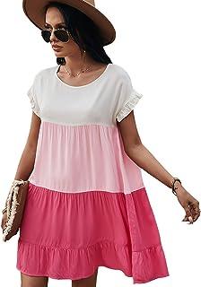 LANISEN Womens Casual Crew Neck Babydoll Dress D Bell Sleeve Ruffles Loose Swing Tunic Shift Dress