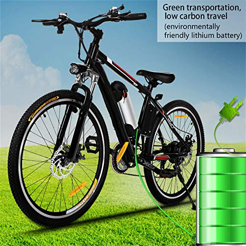 Kemanner 26 inch Electric Mountain Bike 21 Speed 36V 8A Lithium Battery Electric Bicycle for Adult...