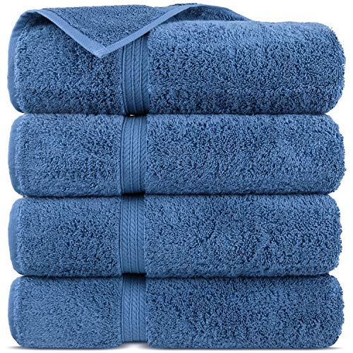 Premium Turkish Cotton 4-Striped Border Eco-Friendly and Long Stable Bath Towel (Wedgewood, Set of 12)