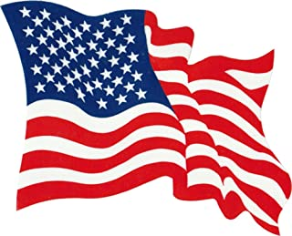 Waving USA Flag - Red, White & Blue - Reverse Reading Window Sticker