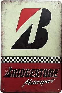 Bridgestone Motor Sport Retro Vintage Tin Sign, Wall Metal Posters Plaques for Home Bar Garage Man Cave, 8'x12'/20x30cm