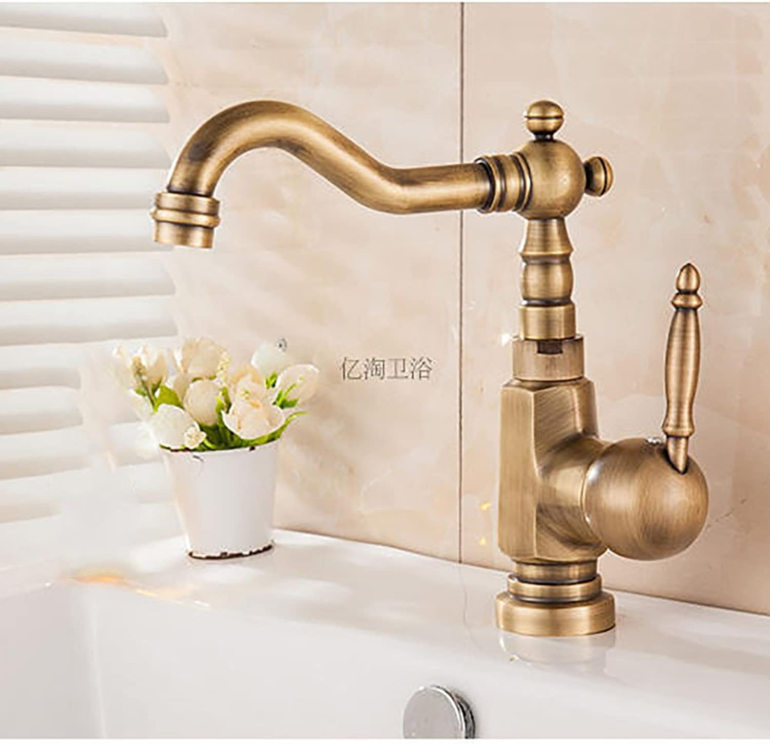 Hlluya Professional Sink Mixer Tap Kitchen Faucet The Antique copper single hole of hot and cold water basin faucet,H