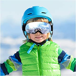 ROGSFN Kids Ski Snow Snowboard Goggles with Spherical Wide View,Helmet Compatible Over Glasses OTG Design Non-Slip Strap UV Protection for Children Youth Boys Girls