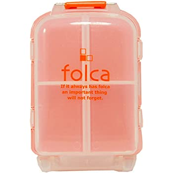 Folca Compact Pill Case, Orange - 8 Compartments