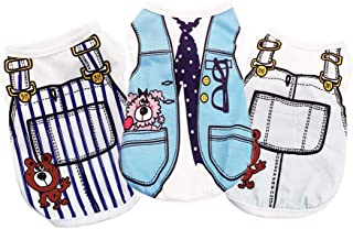 Yikeyo Male Dog Clothes for Small Dog Boy Cat Summer Pet Puppy Shirt for Chihuahua Yorkies Cute Pattern Tshirt, Set of 3 (...