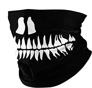 Skull Jaw Teeth Sun UV Protection Face Mask Neck Gaiter Scarf Sunscreen Breathable Bandana for Summer Cycling Hiking Fishing