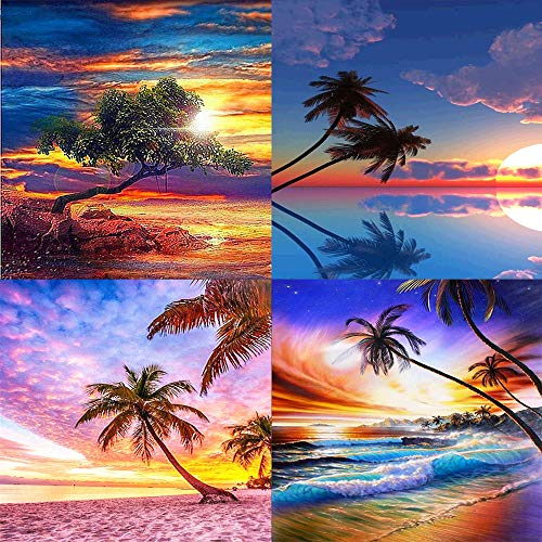 5D Diamond Painting DIY Painting Full Accessory Set - Adult Diamond Painting Colourful, Landscape, Full Drill Embroidery Crystal Rhinestone Mosaic (4 Pack Landscape A (30 x 40 cm)