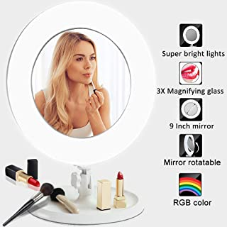 Lighted Makeup Mirror With Magniflcation,Desktop Vanity Mirror With LED Light Dimming, 360 Degree Rotation, 3x Magnifying Double Sided Mirror