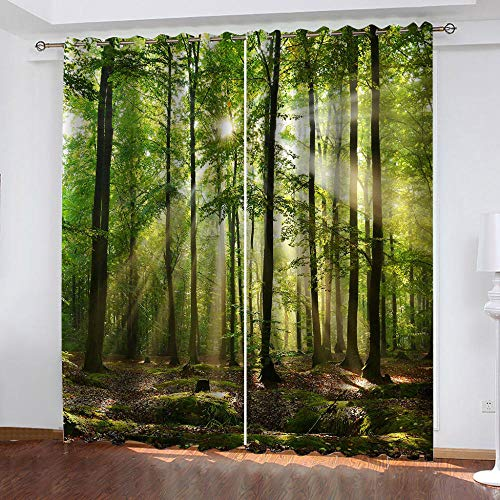 LucaSng Luce Del Sole tende salotto moderne Paesaggio Forestale tende soggiorno Tenda Oscurante Camera da Letto Bambini Termica Isolante 140x160 cm