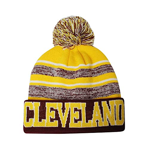 d6a80d25fd9c9 Semper Fi Cleveland Blended Colors Men s Winter Knit Pom Beanie Hat  (Gold Wine)