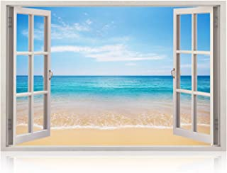 Realistic Window Wall Decal – Peel and Stick Nautical Decor for Living Room, Bedroom, Office, Playroom – Beach Wall Murals Removable Window Frame Style Ocean Wall Art – Vinyl Poster Wall Stickers