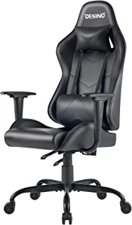 DESINO Gaming Chair Racing Style Home & Office Ergonomic Swivel Rolling Computer Chair with Headrest and Adjustable Lumbar Support (Black)