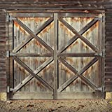 Yeele 7x7ft Rustic Barn Backdrop for Photography Shabby Old Worn Brown Wooden Doors Front Background Countryside Style Kids Boy Girl Adult Photo Booth Shoot Vinyl Studio Props
