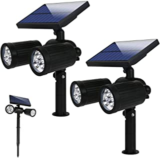 Lámparas Solares 2 en 1 Luces Exterior Inalámbricas 12 LED Apliques de Pared con 350 Lúmenes+Impermeable IP65+Sensor de Movimiento Focos Solares+6 lugares Ajustable+12 Horas