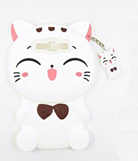 Samsung Galaxy S3 Case, Maoerdo Cute 3D Cartoon White Plutus Cat Lucky Fortune Cat Kitty with Bow Tie Silicone Rubber Phone Case Cover for Samsung Galaxy S3