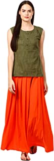 Women's Short Kurti with Ankle Length Flared Skirt Palazzo Rayon Ethnic Dress