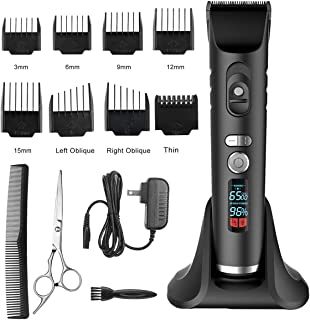 Hair Clippers Hair trimmers Cordless For Men Pro Haircut Beard Trimmer Hair Cutting kit LED Display (black)